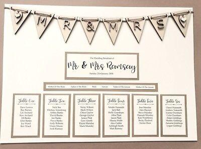 A3 In Legno Rustico Bunting Design Wedding Tavolo Piano Piano/posti A Sedere. Grafico A Sedere- Facile E Semplice Da Gestire