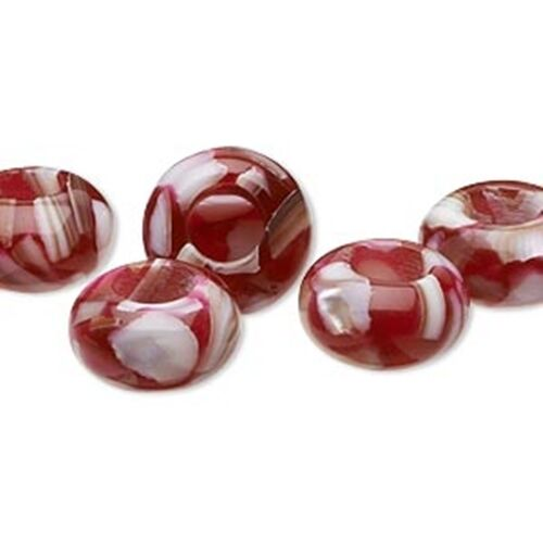 Mother of Pearl in Strawberry Resin 14mm Large 6mm Hole European Charm Bead 2pc