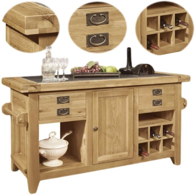 Panama solid oak furniture large granite top freestanding kitchen island unit