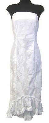 Hawaiian Wedding White floral beach tube top court train simple dress-XS-2XL