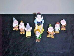 Rare Kneeling Snow White & The 7 Dwarfs Figurines Walt Disney Productions Japan