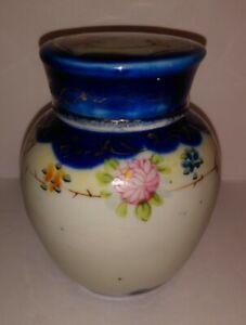 Vintage-Japan-Cobalt-Blue-Pink-Gold-Floral-Hand-Painted-4-034-Ginger-Jar-with-Lid