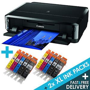 Canon-PIXMA-iP7250-Wireless-USB-WiFi-Photo-CD-DVD-Printer-2-sets-of-XL-Inks