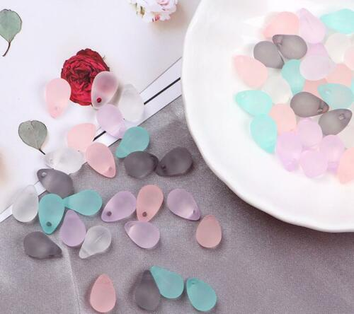 DIY 100pcs Frosted Beads Transparent Water drop Jewelry Hair Ornament accessorie