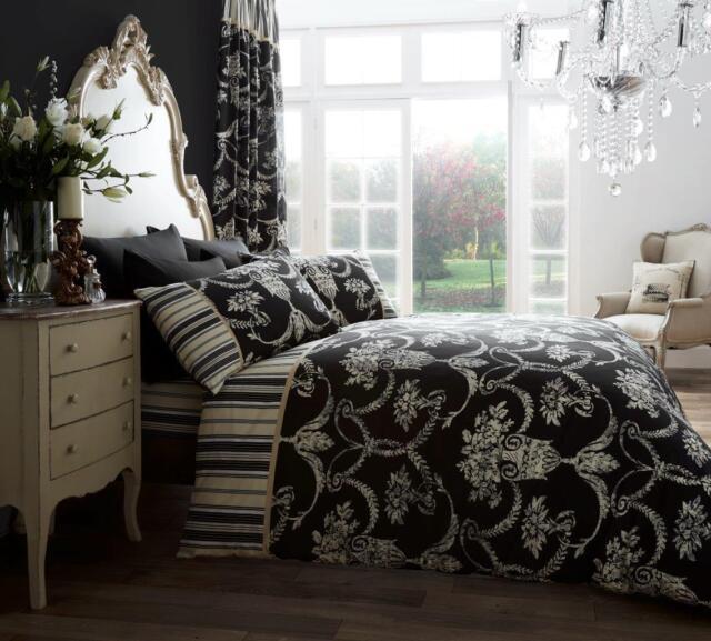 Richmond Black Vintage Style Duvet Covers Quilt Covers Reversible Bedding  Sets