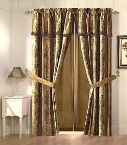 Vintage-Stripe-Window-Curtain-Gold-Burgundy-Floral-Drape-Set-Valance-2-Panel