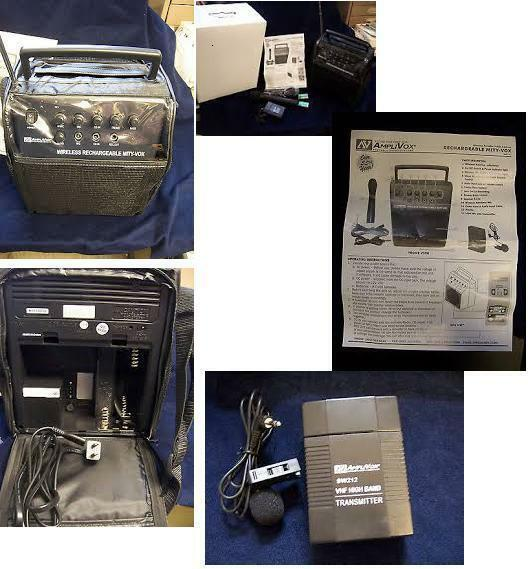 Amplivox Sw212 Wireless Mity-vox PORTABLE SOUND SYSTEM pa handheld lapel mics