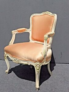 Beautiful-Vintage-French-Provincial-White-Carved-Wood-Accent-Arm-Chair-Coral