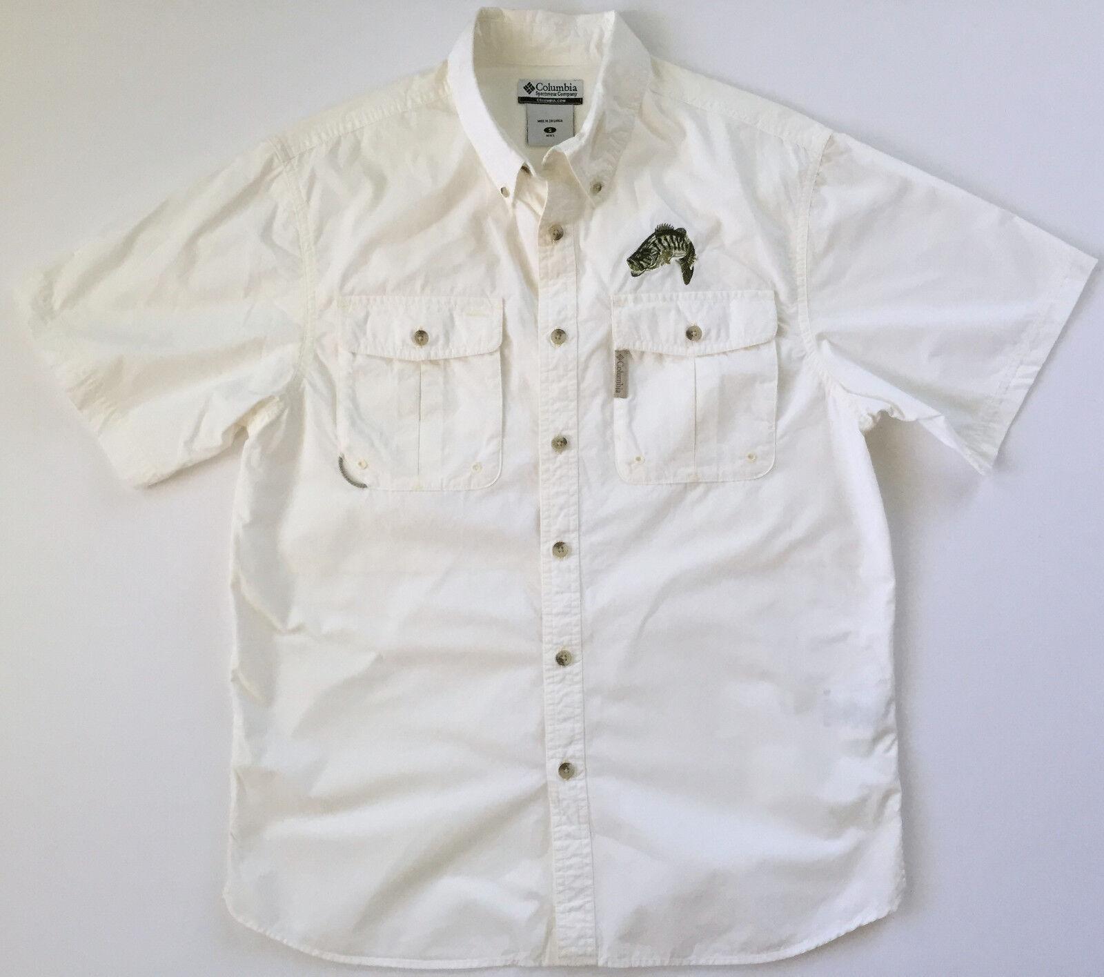 COLUMBIA PFG Performance Mens Short Sleeve White Vented Fishing Shirt Sz S