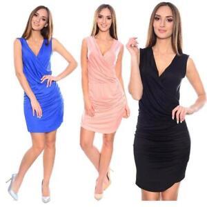 Sommer-Kleid mit Raffung Top V-Ausschnitt Gr S M L XL 2XL 3XL, 36 38 40 42 44 46