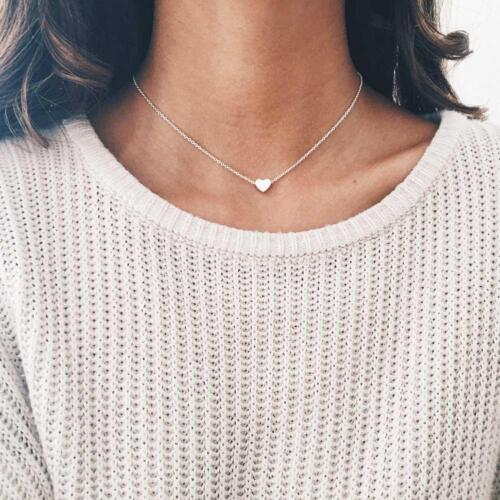 Women Jewelry Stainless Steel Chain Necklace Gold Color Dainty Tiny Heart