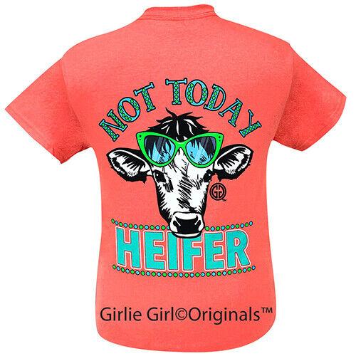 Girlie Girl Originals Tees Not Today Heifer Coral Short Sleeve T-Shirt - 2102
