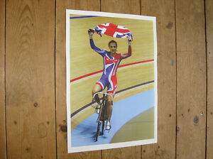 Sports Memorabilia Victoria Pendleton Cycling British Olympic Flag Poster London 2012