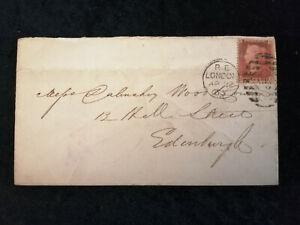 Grossbritannien-Brief-von-1865-Koenigin-Victoria-Buchstaben-in-den-Ecke-Nr-1