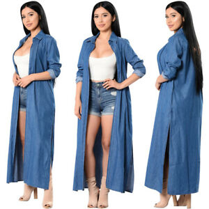 Women Denim Outwear Long Sleeve Jacket Trench Coat Fashion Casual Loose Style