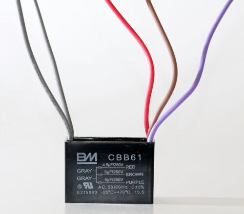 BM CEILING FAN CAPACITOR CBB61 4.5uf+6uf+5uf 5WIRE Genuine UL listed