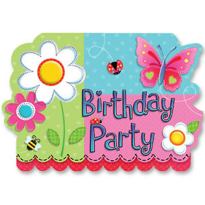 Image Is Loading Amscan Garden Girl BIRTHDAY PARTY INVITATIONS With Envelopes
