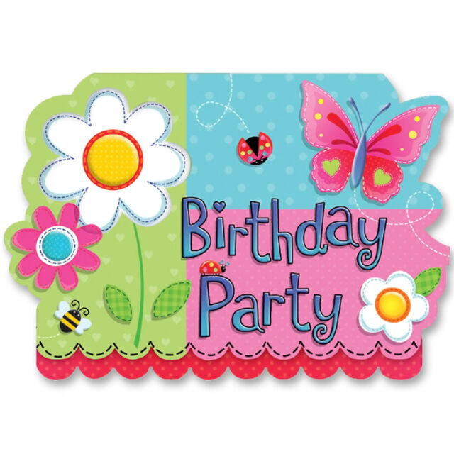 Amscan Garden Girl BIRTHDAY PARTY INVITATIONS With Envelopes 8 Pack Butterfly