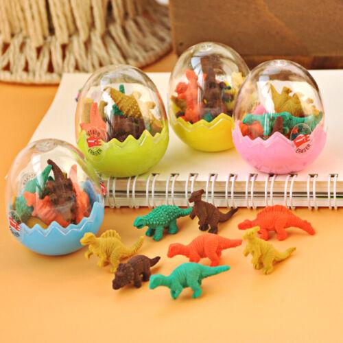 8Pcs Mini Kawaii Dinosaur Egg Pencil Rubber Eraser Stationery Egg with T6D4