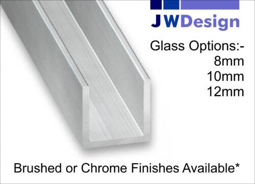 10mm . Brushed or Chrome 2.5M Length Shower//Glazing U-Channel 12mm Glass 8mm