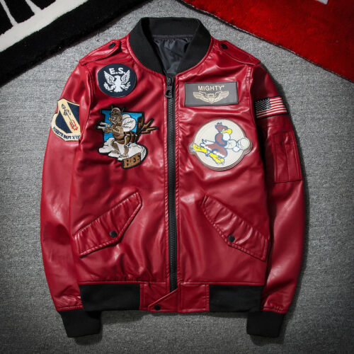 NEW Men/'s Air Jacket MA1 Army Flight Bomber Jackets Coat PU Leather Outwear