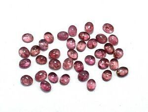 37-Piece-Natural-Pink-Color-Tourmaline-Gemstone-7X5-mm-Oval-Cabochon-Lot-S728