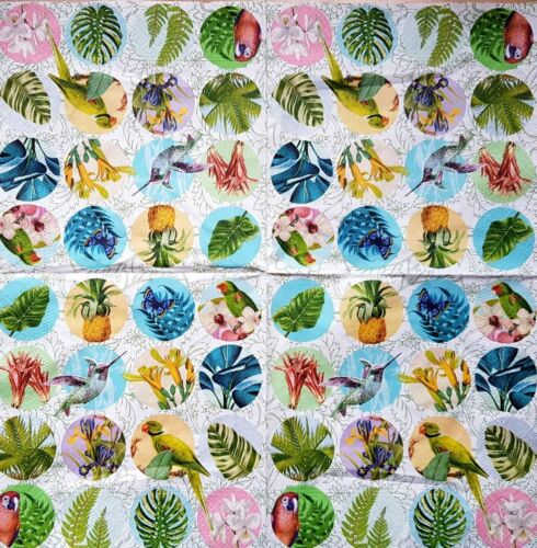 4 Lunch Paper Napkins for Decoupage Craft Vintage Napkin  Parrots Stamps