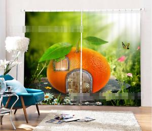 3D puerta naranja 4 Cortinas de impresión de cortina de foto Blockout Tela Cortinas Ventana Reino Unido