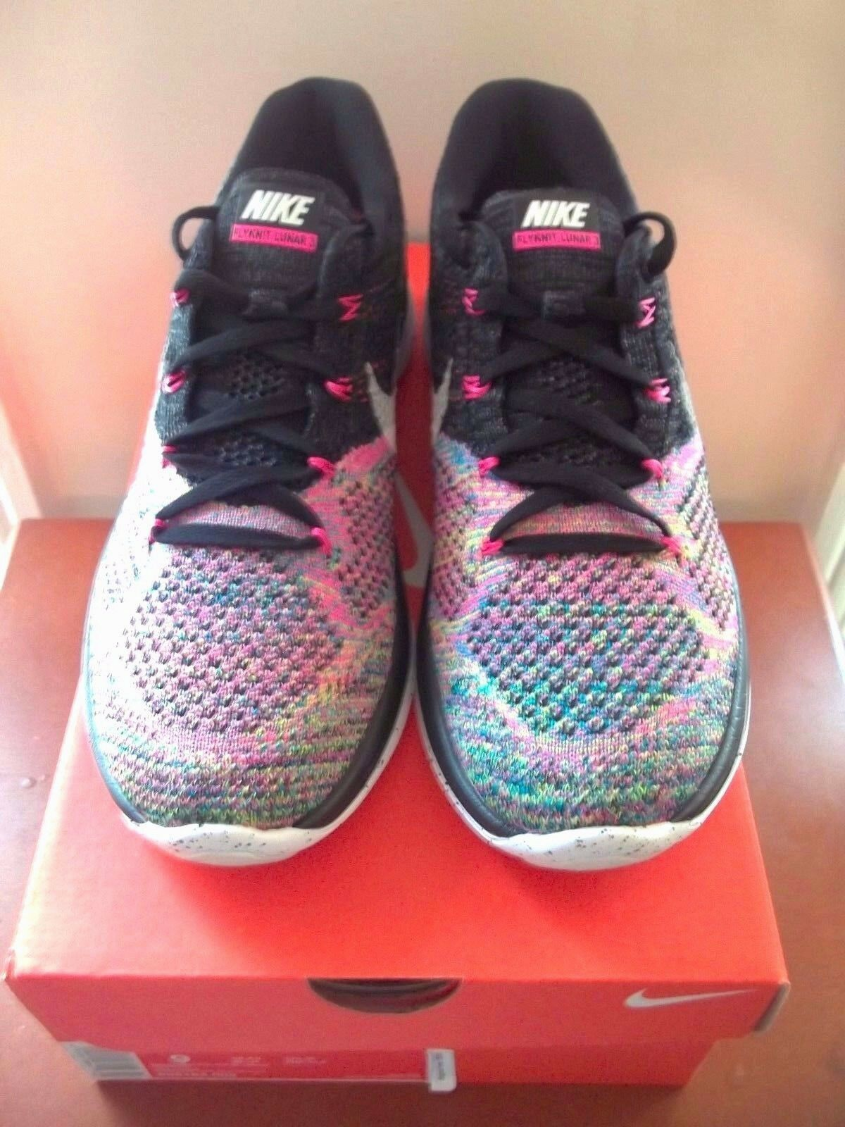 WMNS Nike Flyknit Lunar 3 Multicolor 9 Black Pink 698182-003 HTM Racer Trainer Great discount