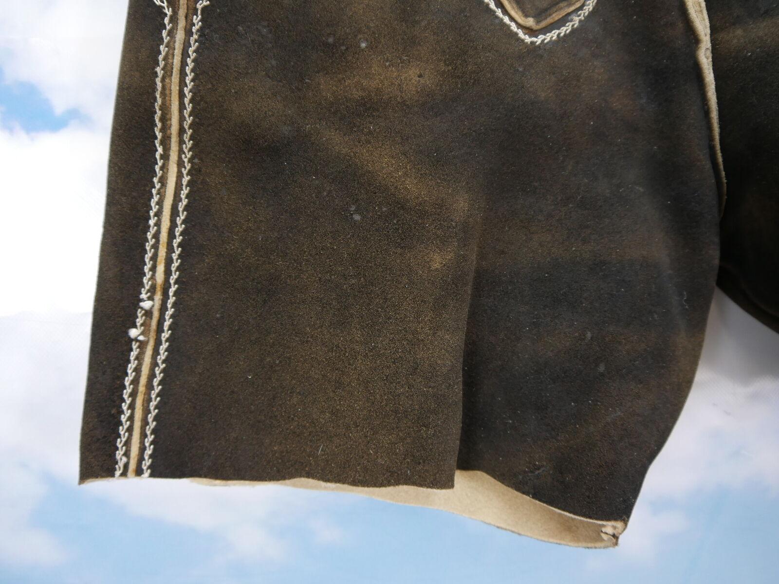 Spessore lunga HIRSCH pelle Lederhose in una breve troncati Marronee Marronee Marronee Tg. 52 70b1fd