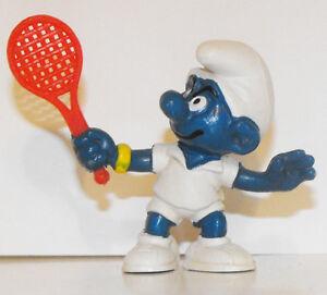 20049 Smurf with Tennis Racket Vintage 2-inch Plastic Figurine Schleich 1978