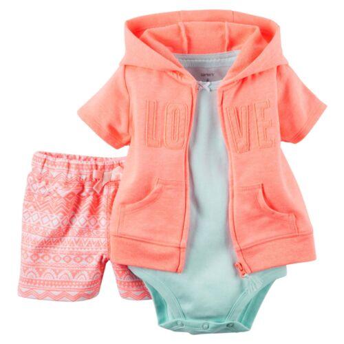 NWT Carters Baby Girl 3-pc Summer Shorts Sets Cardigan Hoodie Jacket  NB-24 Mo.