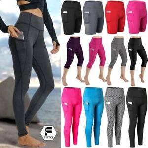 Womens-Push-Up-High-Waist-Yoga-Pant-Pocket-Fitness-Gym-Workout-Athletic-Legging