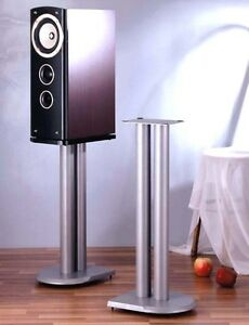 """VTI UF Series Pair Speaker Stands 24"""", Silver, Brand New, Free Ship !"""