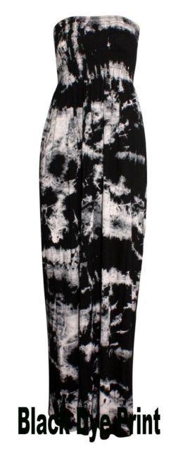 New Ladies Women's Tie Dye Printed Shirring Bandeau Maxi Dress Plus Size 8-26