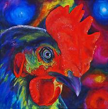 ROOSTER Chicken Farm Bird 11x11 Signed Art PRINT of Original Oil Painting VERN