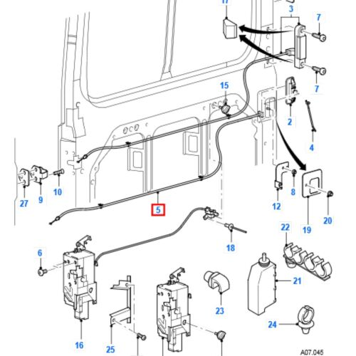 Ford Transit Mk6//7 2000-2014 Side Loading Door Cable From Outer Handle to Lock