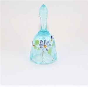 Fenton-4-1-4-034-Bell-Hand-Painted-with-Daisies-Turquoise