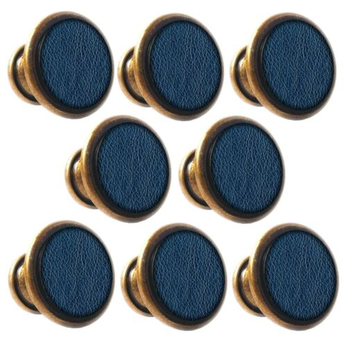 Zinc Alloy Knobs Blue Leather 30mm Cupboard Drawer Door Handles Decorated