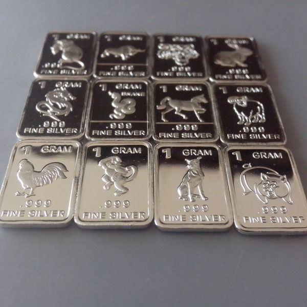12 X 1 Gram 999 Fine Silver Bar Bullion Chinese Zodiac Signs Set Wp401 Ebay