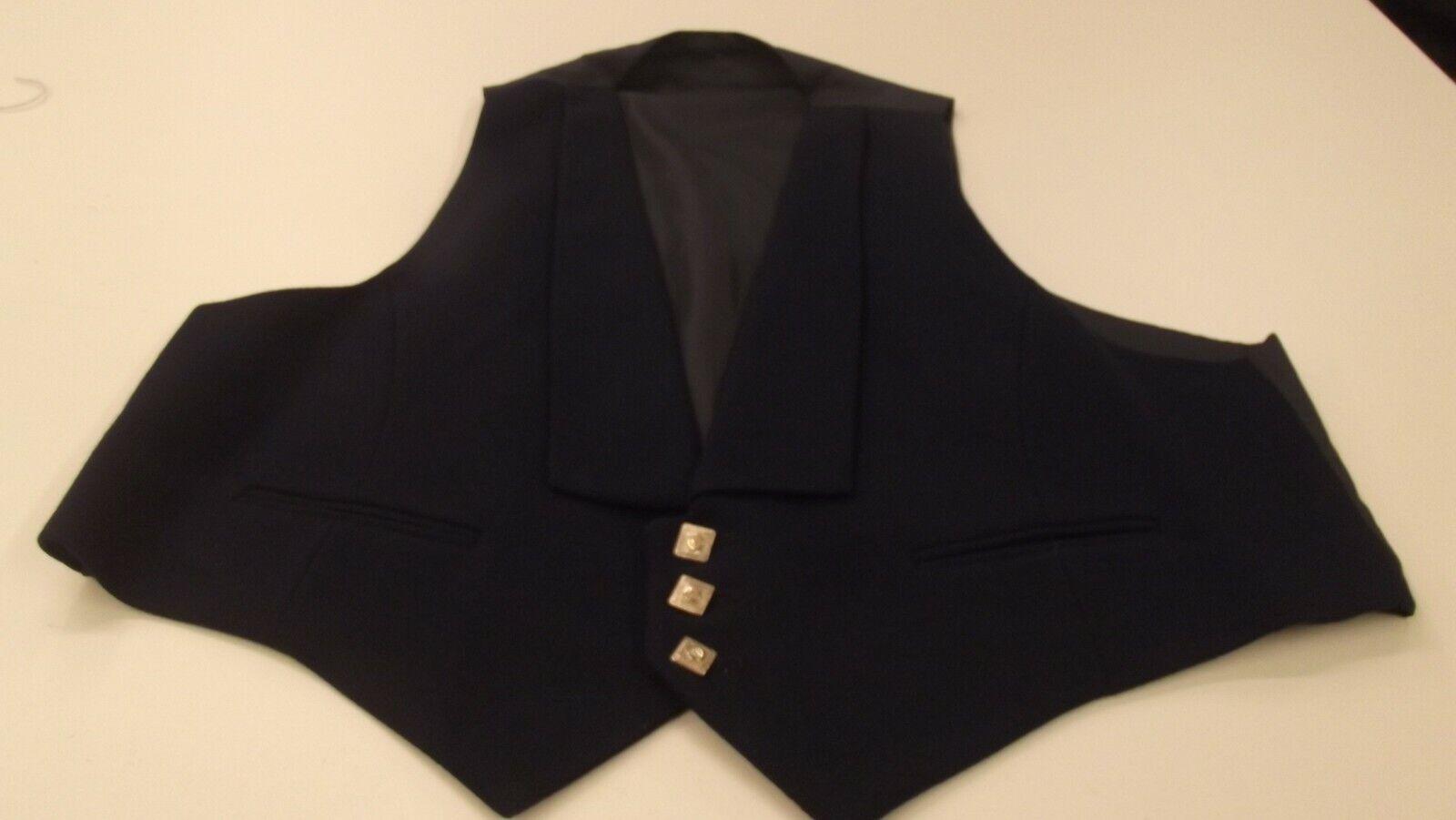 Ex-Hire 3 Button Navy Blue Prince Charlie Waistcoat - 46 Short 46S