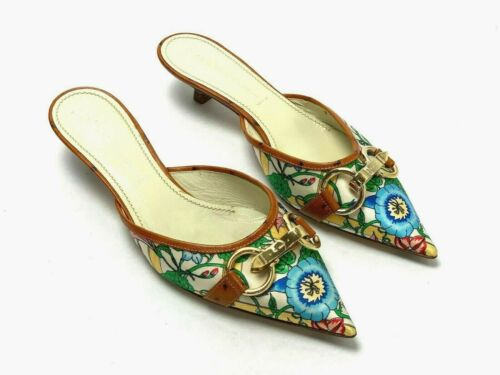 Casadei Italy New $675 Satin Floral Horse Bit Slide Heels Shoes Size 9 1/2