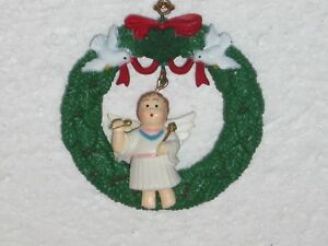 Vintage Plastic Christmas Ornament Singing Angel Dangling In Middle