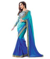 Tanu Indian Saree - Designer Ethnic Party Blue Georgette & Blouse piece Sari