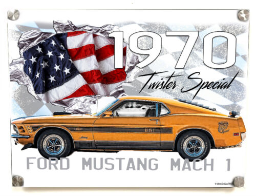 1970 Ford Mustang Mach 1 Twister Special 16x12 Aluminum Wall Art w Stand Offs