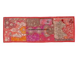 60-034-ANTIQUE-DECOR-BEADED-SEQUIN-PEARL-SARI-TAPESTRY-WALL-HANGING-THROW-RUNNER