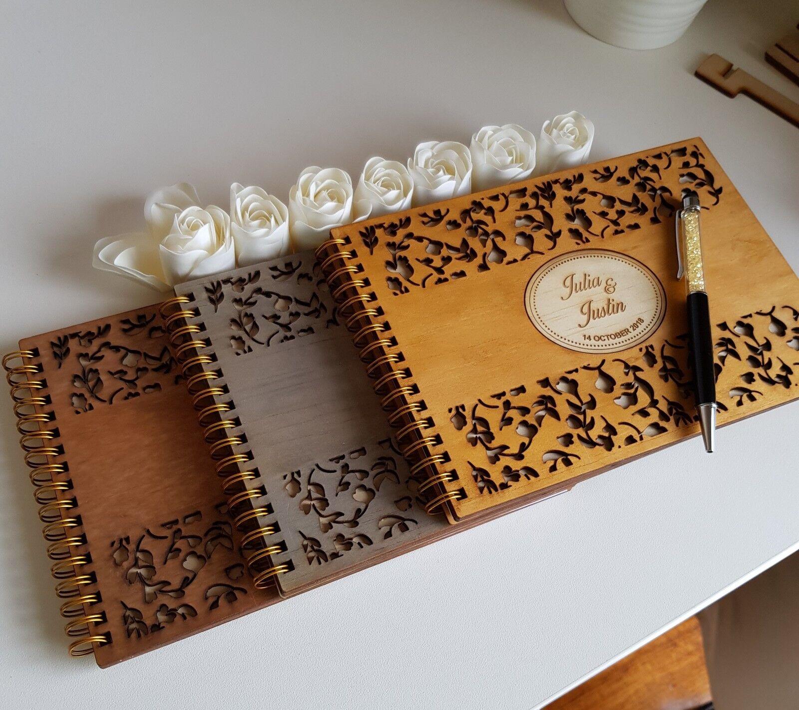 Deluxe A5 Größe,Wooden Wedding Guest Book, stained, varnished, varnished, varnished, party, birthday 549f53