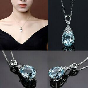 Elegant-925-Sterling-Silver-Aquamarine-Gemstone-Pendant-Necklace-Gift-Jewellery