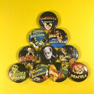 """Classic Movie Monsters 1"""" Button Pin Set in Farbe Wolfman Dracula Frankenstein"""