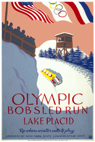 2695.Olympic Bobsled run Lake placid sports POSTER.House kitchen Decorative Art